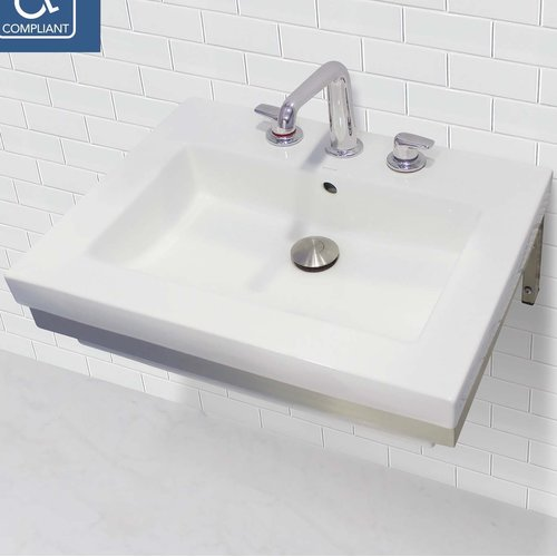 DECOLAV Classically Redefined Lavatory 24'' Wall Mount Bathroom Sink with Overflow