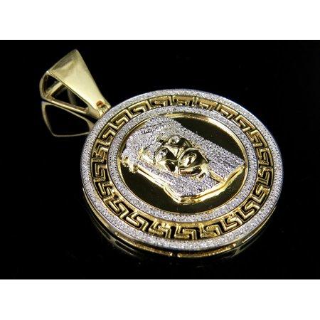 Mens 10K Yellow Gold Genuine Diamond Bismark Medallion Jesus Pendant 1/2 Ct 1.6