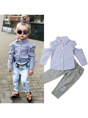 2PCS Toddler Baby Girl Striped Tops Shirt+Jeans Pants Outfit Casual Clothes 1-6Y