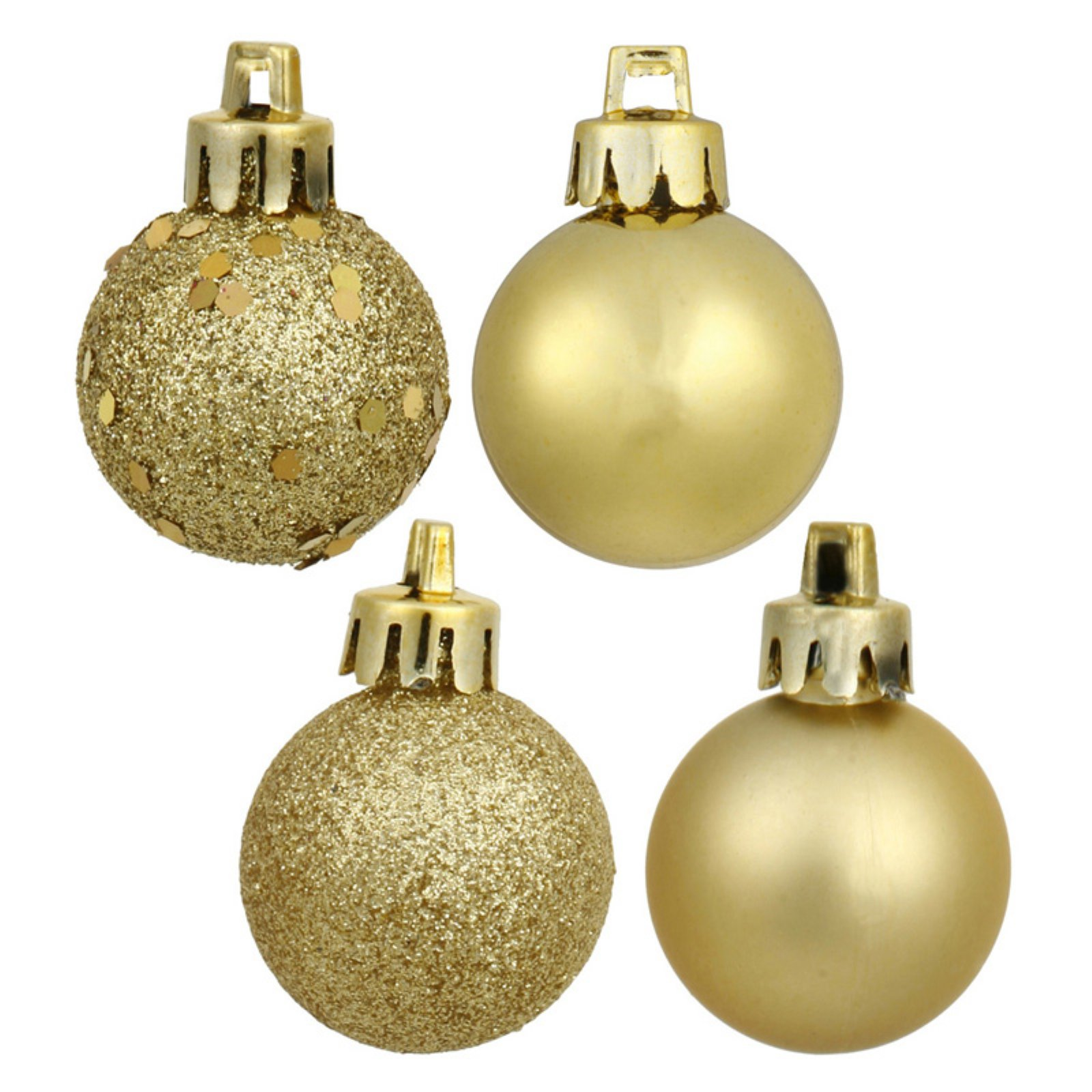 Vickerman 3 in. Gold 4 Finish Ornament Assorted - Set of 16