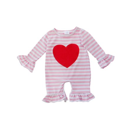aa1fcbc64f8d Girls Toddler Baby Infant Valentine s Day Holiday Long Sleeve Romper  Jumpsuit So Sydney