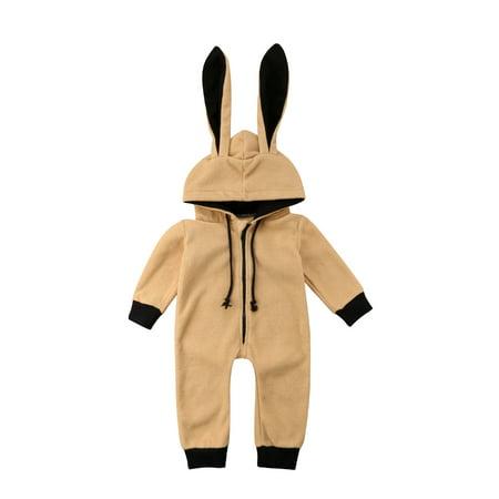 Newborn Baby Winter Rabbit Shape Snowsuit Warm Fleece Hoodie (Romper Suit)