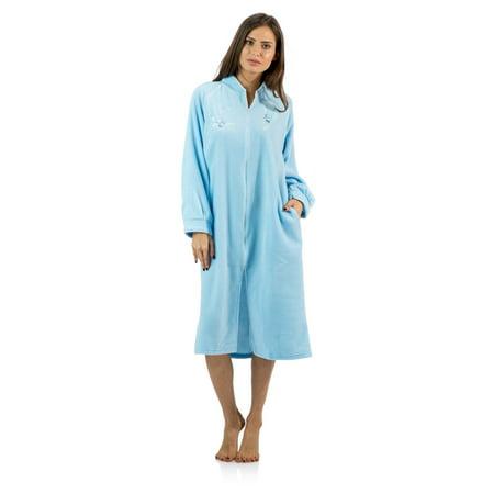 Zip Detail Sheath Dress - Casual Nights Women's Zip Up Front Long Fleece Robe House Dress