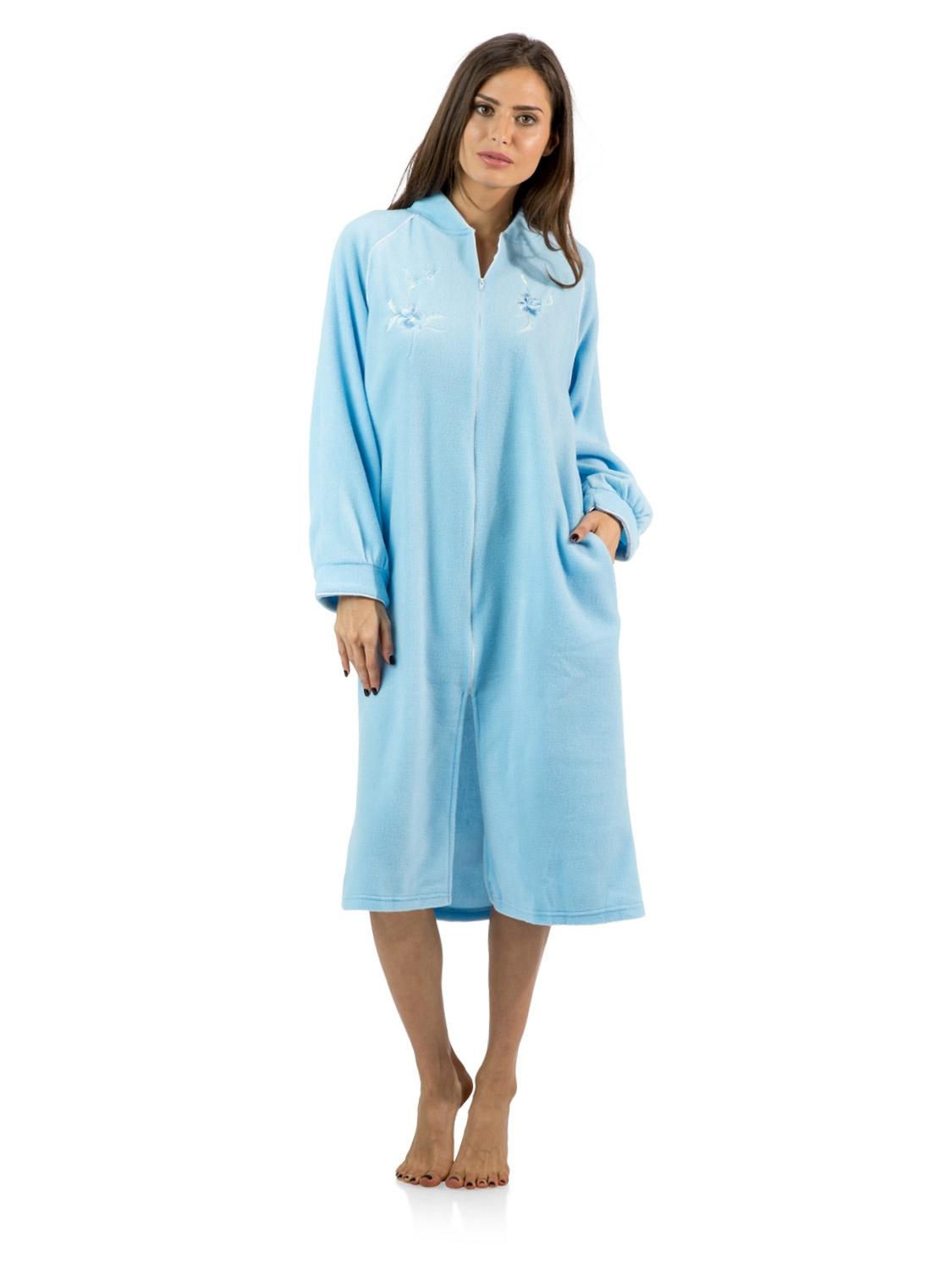 Casual Nights Women's Zip Up Front Long Fleece Robe House Dress