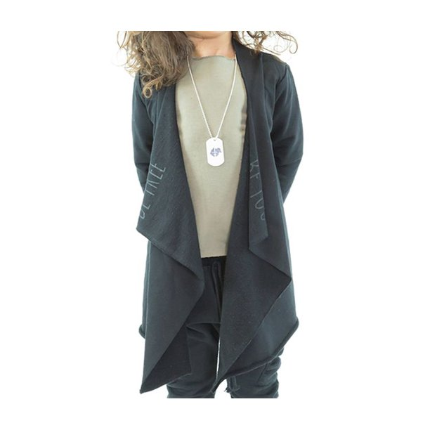 nuni b Girls Premium Open Front Raw Edge Cardigan Sweater (Black/Size 3)