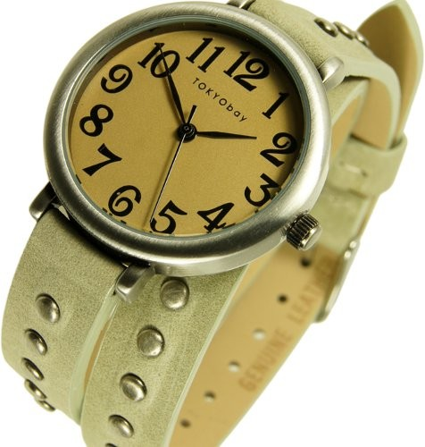 TOKYObay Womens Austin Analog Stainless Watch - Gray Leather Strap - Beige Dial - TL427-ST