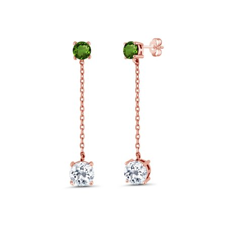 4.30 Ct White Topaz Green Chrome Diopside 18K Rose Gold Plated Silver Earrings