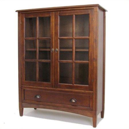 Wayborn Shelf Bookcase Glass Door Brown
