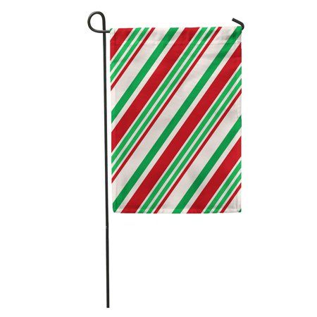 POGLIP Pattern Christmas Contain Candy Cane Stripes in Red Green and Cream Colors Great Holiday Garden Flag Decorative Flag House Banner 28x40 inch - image 1 de 2