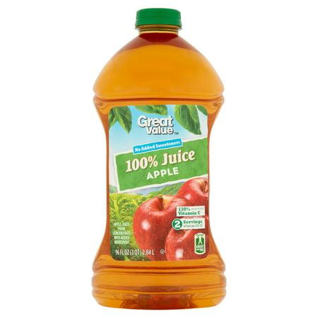 (2 pack) Great Value 100% Juice, Apple, 96 Fl Oz (Ipad Juice Pack)