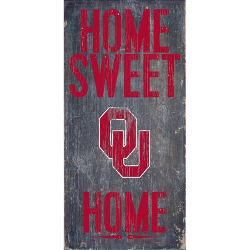 "Oklahoma Sooners Wood Sign - Home Sweet Home 6""x12"""