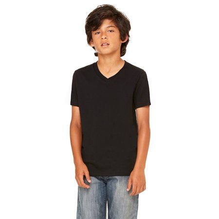 Branded Bella + Canvas Youth Jersey Short Sleeve V-Neck T-Shirt - BLACK - M (Instant Saving 5% & more) (Dirt Bike Jersey And Pants Youth)