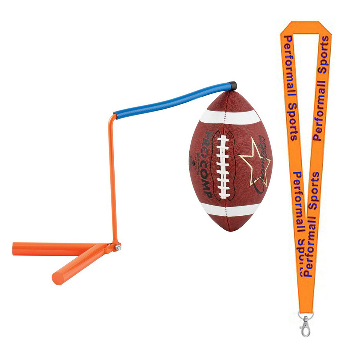Champion Sports Bundle: Football Kicking Holder Royal Blue with 1 Performall Lanyard FHK-1P