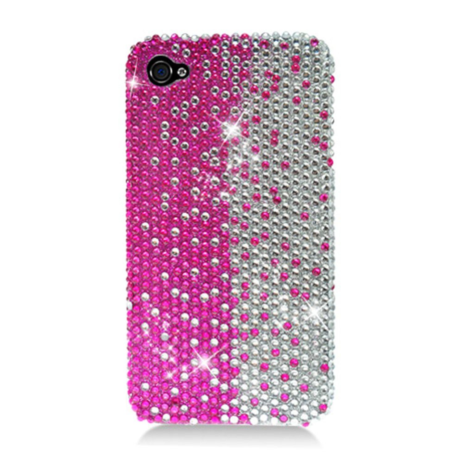 iPhone 4S Case, by Insten Full Diamond Bling Hard Snap-in Case Cover For Apple iPhone 4/4S, Hot Pink/Silver