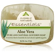 Clearly Natural Essentials Glycerin Bar Soap Aloe Vera, Pack of 12, 4-Ounces Each