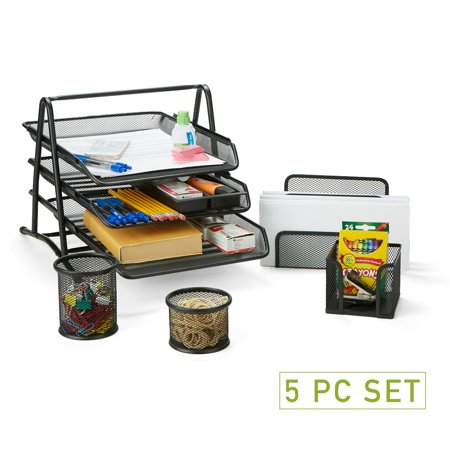 Mind Reader Metal Mesh 5 Piece Office Desk Organizer Set, Includes Two Pencil and Accessory Cups, Memo Holder, Letter Holder, 3 Tier Document File Tray, Black 3 Tier Letter Holder