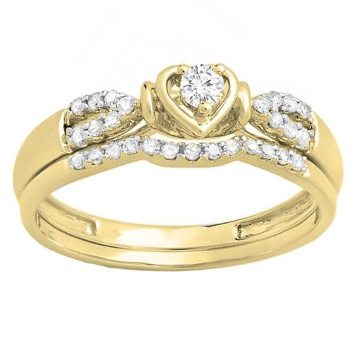 10k Gold 1/4ct TDW Round Diamond Heart Bridal Engagement Ring Matching Band Set (H-I, I1-I2) White Gold- Size 5.5