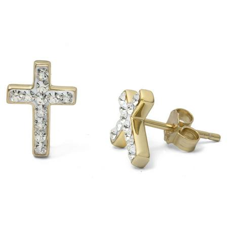 Crystal 18kt Gold Over Sterling Silver Cross Stud Earrings