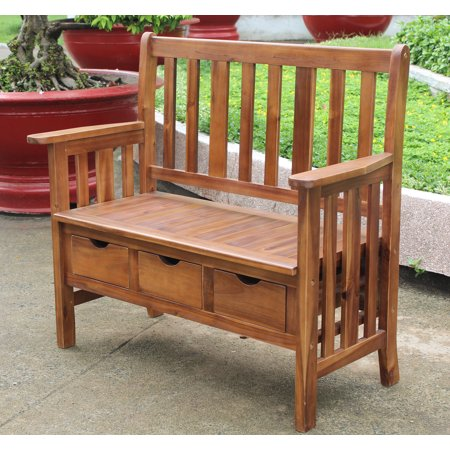 Highland 3-drawer Acacia Bench with Arms