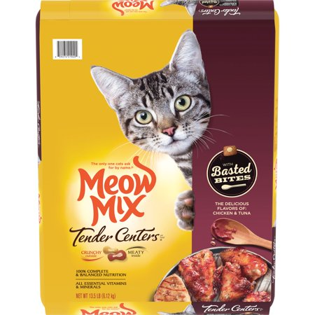 Meow Mix Tender Centers with Basted Bites, Chicken and Tuna Flavored Dry Cat Food,