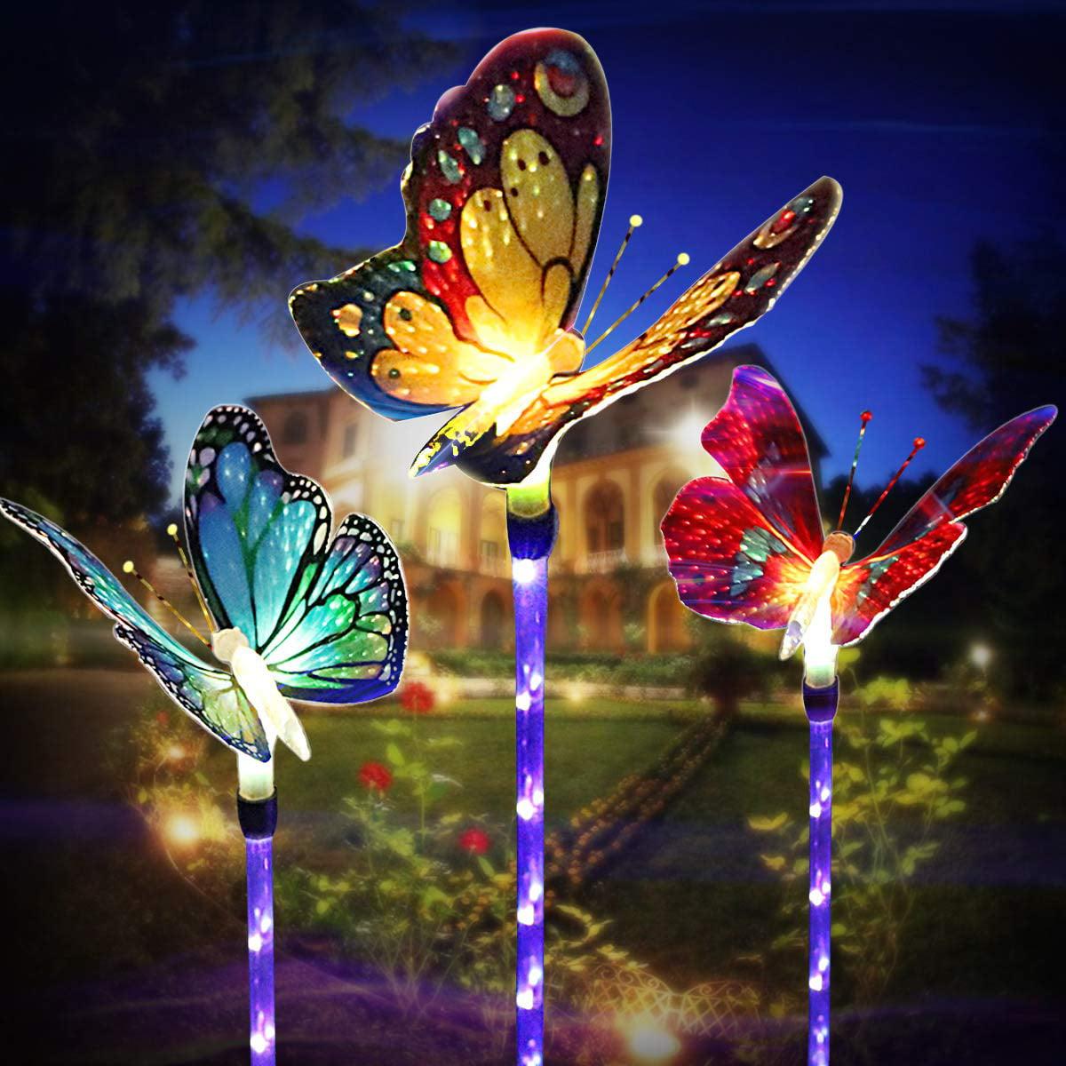Garden Solar Lights Outdoor Multi Color Changing Solar Powered Led Garden Lights Fiber Optic Butterfly Decorative Lights Outdoor Decor Yard Art Garden Decorations 3 Pack Walmart Com Walmart Com