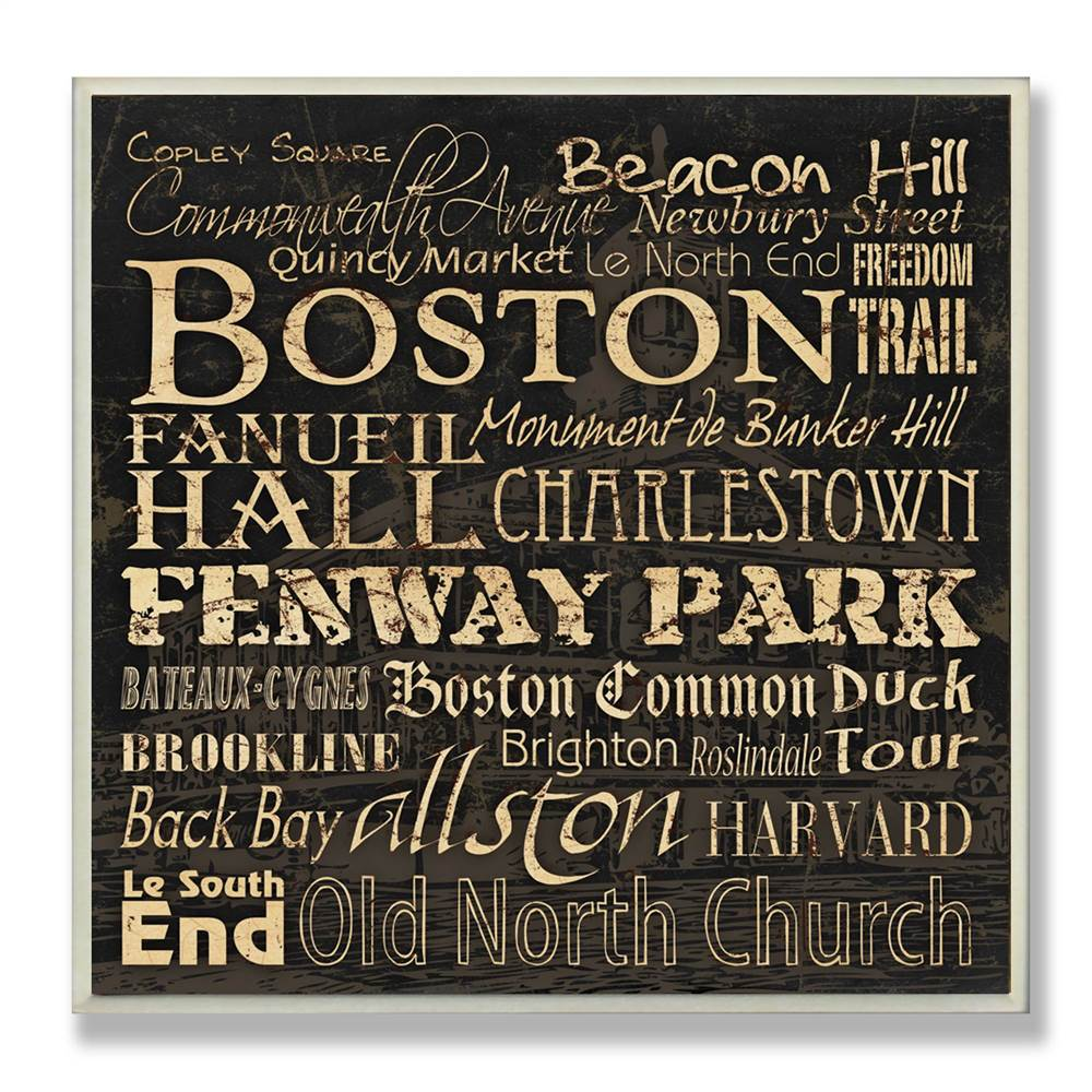 Boston Typography Landmarks Square Wall Plaque