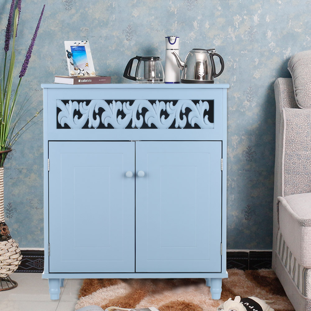 iKayaa Modern Double-Door Floor Cabinet Shelved Storage Cabinet Bedroom Bathroom Furniture