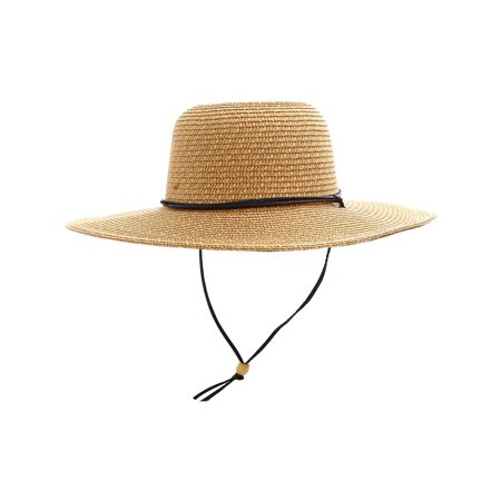 Women's UPF 50+ Wide Brim Braided Straw Sun Hat with Lanyard -