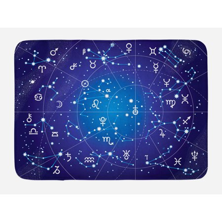 Astrology Bath Mat, Constellation of Zodiac and Planets Original Collection Coordinates of Celestial, Non-Slip Plush Mat Bathroom Kitchen Laundry Room Decor, 29.5 X 17.5 Inches, Dark Blue, Ambesonne