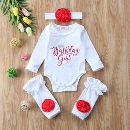 3PCS Newborn Baby Girls Birthday Clothes Romper Leg Warmer Outfits Shower (Beco Gemini Newborn Legs In Or Out)