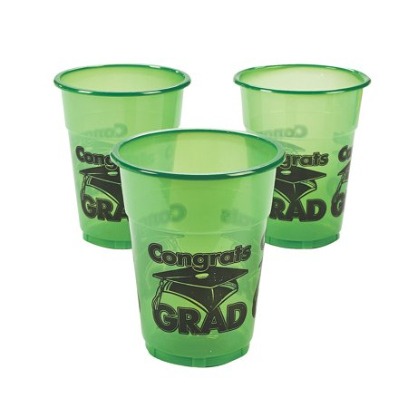 Fun Express - Green Congrats Grad Disposable Cups (50) for Graduation - Party Supplies - Drinkware - Disposable Cups - Graduation - 50 Pieces - Green Graduation