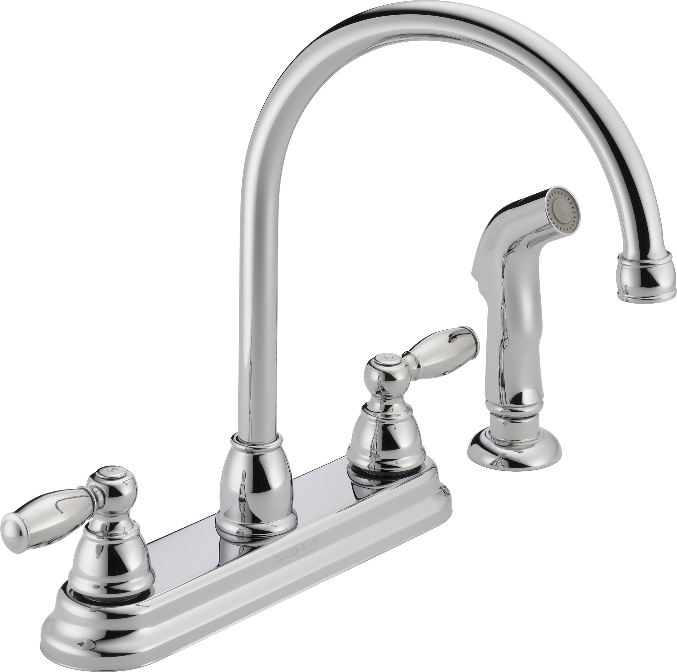Superb Peerless Two Handle Kitchen Faucet With Side Sprayer, Chrome, #P299575LF