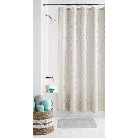 Mainstays Geo Jacquard Fabric Shower Curtain ()