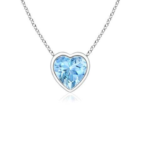 Mother's Day Jewelry - Bezel-Set Solitaire Heart Aquamarine Pendant in 14K White Gold (4mm Aquamarine) - SP0152AQ_N-WG-AAAA-4 Bezel Set Heart Pendant