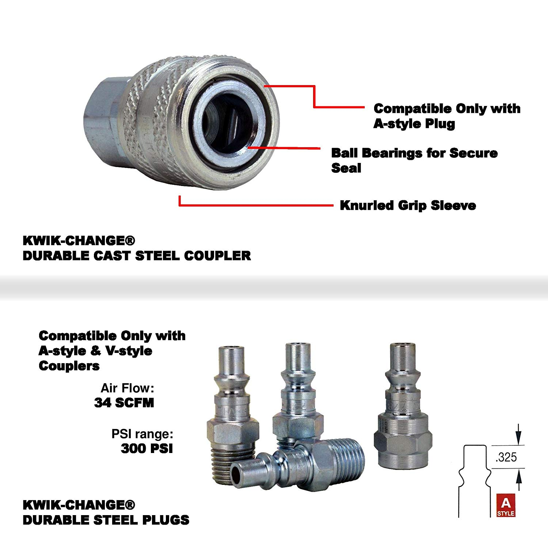 """775 Milton S213 A-Style Air Coupler and Plug Kit-1//4/"""" NPT 3 778 1 1 777"""
