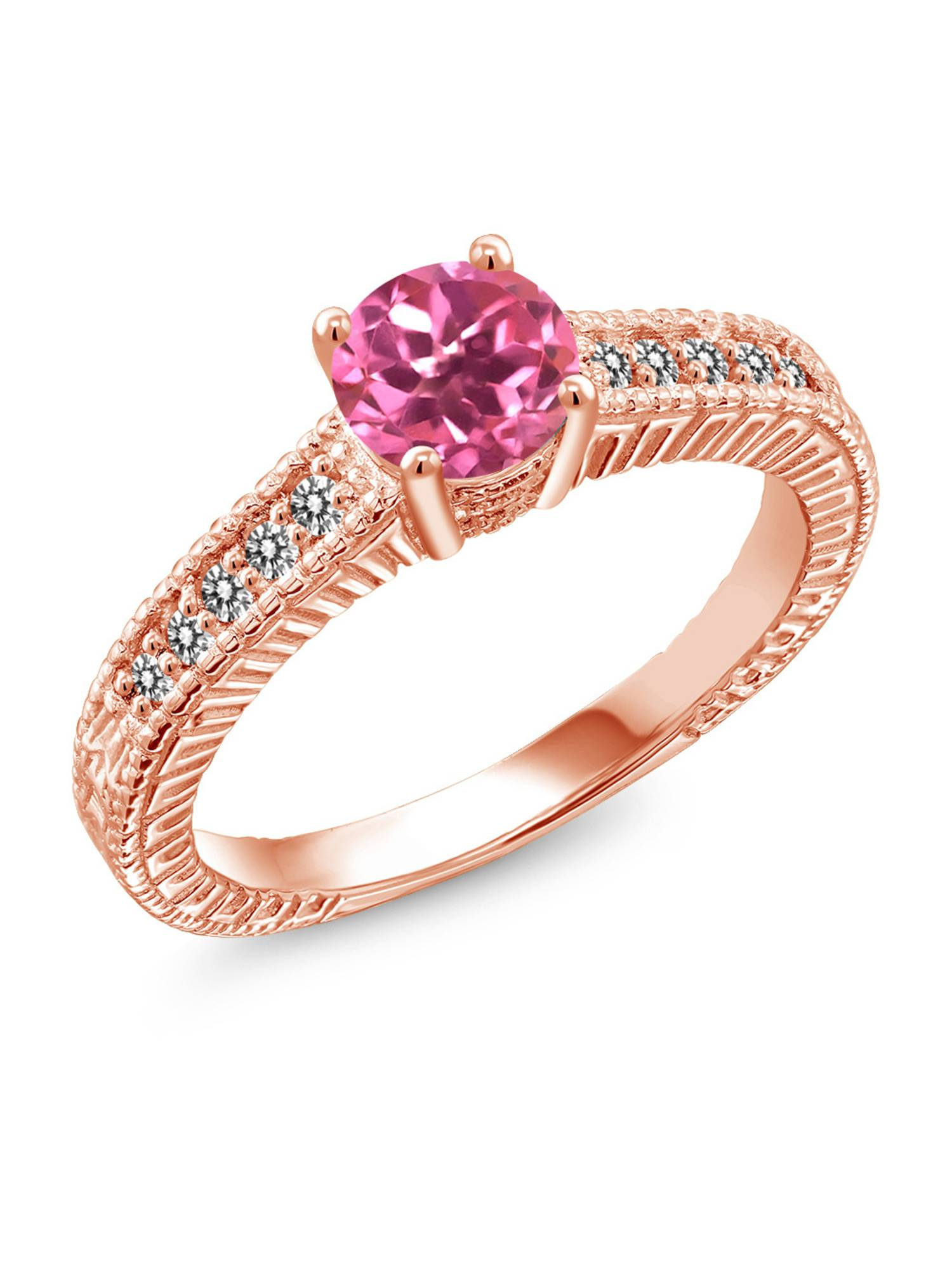1.17 Ct Round Pink Mystic Topaz White Diamond 18K Rose Gold Plated Silver Ring by