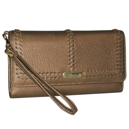 Metallic Embossed Wristlet (Buxton Whip Stitch RFID Night Out)