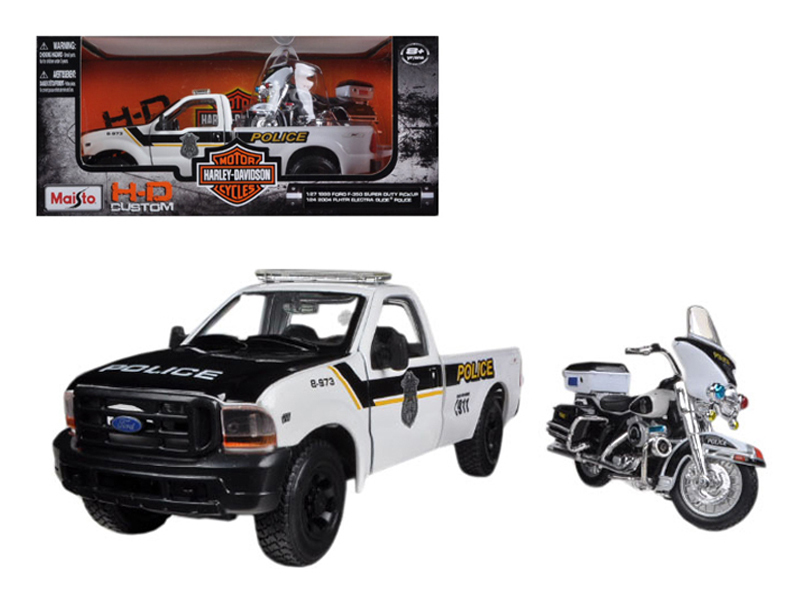 1999 Ford F-350 Super Duty Pickup Truck 1 27 and 1 24 2004 Harley Davidson FLHTPI Electra... by Maisto