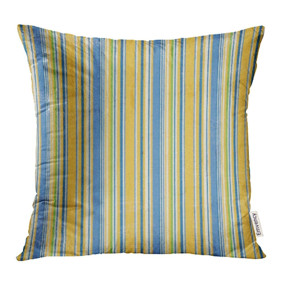 USART Navy Royal Yellow Blue Twill Stripe White Distressed Gold Pastel Primary Worn Pillow Case Pillow Cover 18x18 inch Throw Pillow Covers