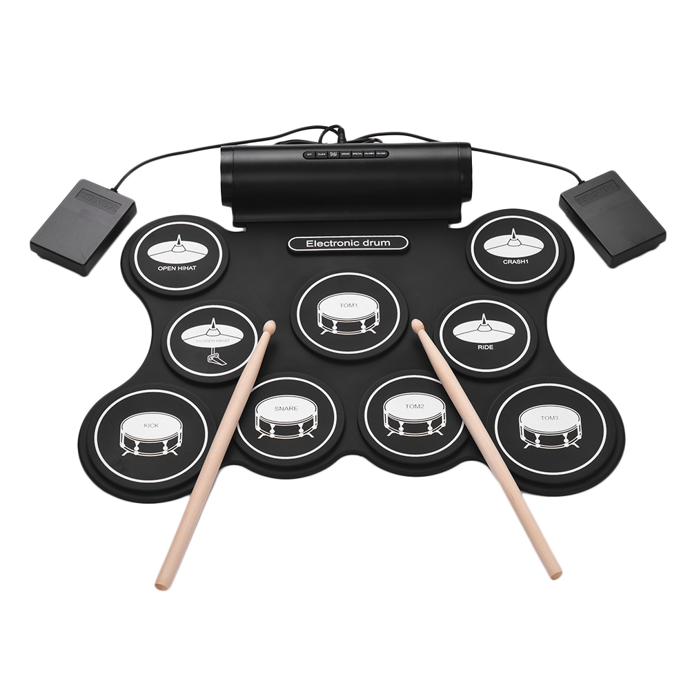 Portable Stereo Digital Electronic Roll Up Drum Kit 9 Silicon Drum Pads Support MIDI Function Built-in Speakers USB Powered for Beginners Children
