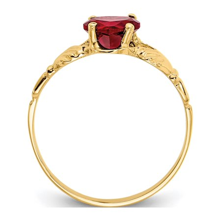 14k Yellow Gold January Birthstone Claddagh Ring - image 1 of 5