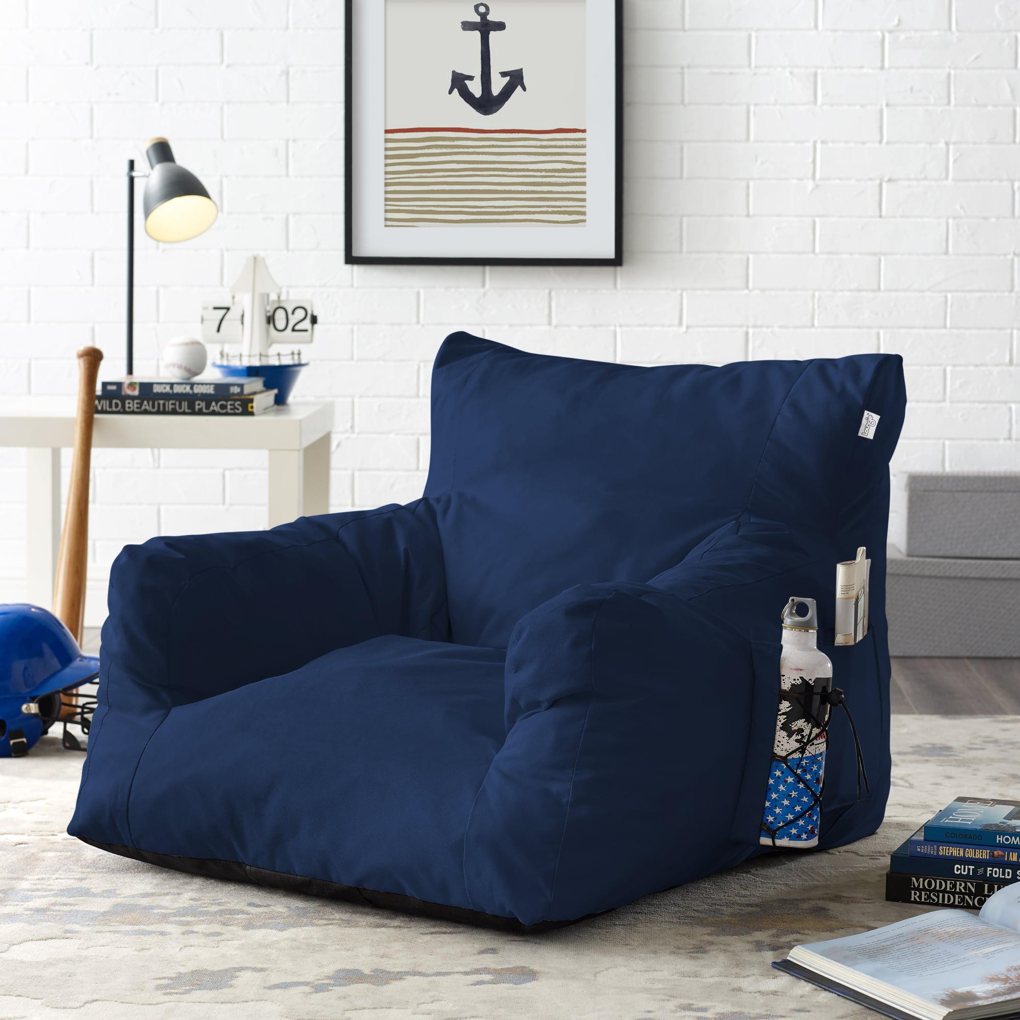 Comfy Grey Foam Lounge Chair - Nylon   Indoor/ Outdoor   Self Expanding   Water Resistant   Bean Bag Chair