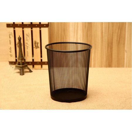 Wire Mesh Dustbin Office Metal Garbage Can Study Room Wastepaper Basket Pure Color Black (Economy Black Metal Wire)
