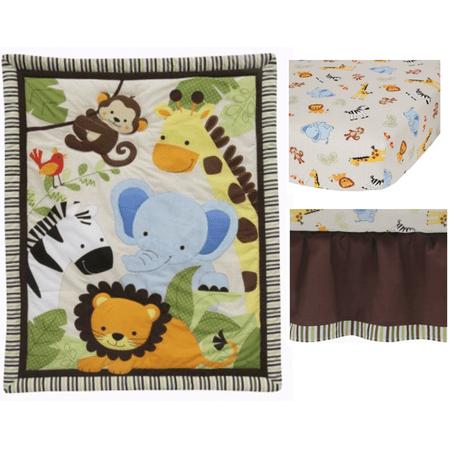 Retro Circles Crib Bedding - Lambs & Ivy Bedtime Originals, Jungle Buddies 3 Piece Crib Bedding Set, Brown