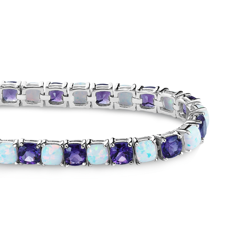 Created Opal and Amethyst Tennis Bracelet by Sterlyn Silver Corp