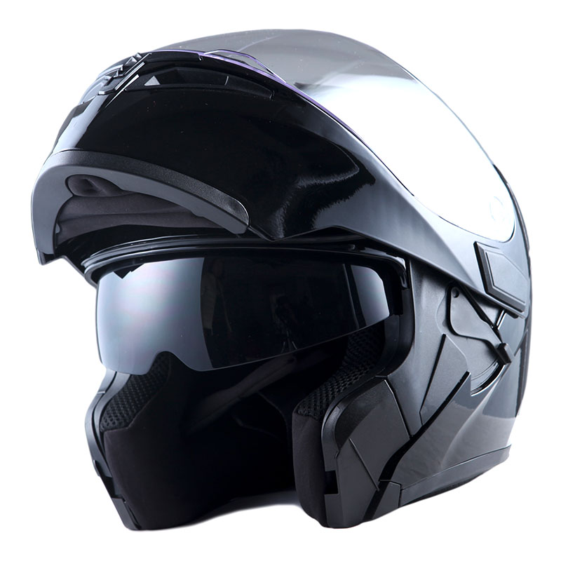 1Storm Motorcycle Street Bike Modular Flip up Dual Visor Full Face Helmet Matt Black HB89