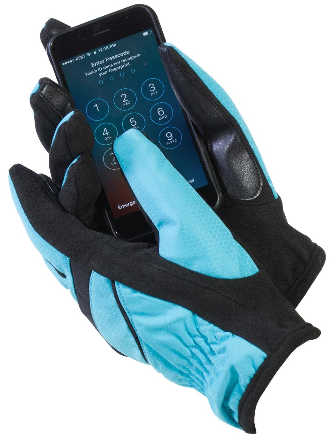 Isotoner Women's Touch Screen Thermaflex Gloves Black & Aqua Large / X-Large