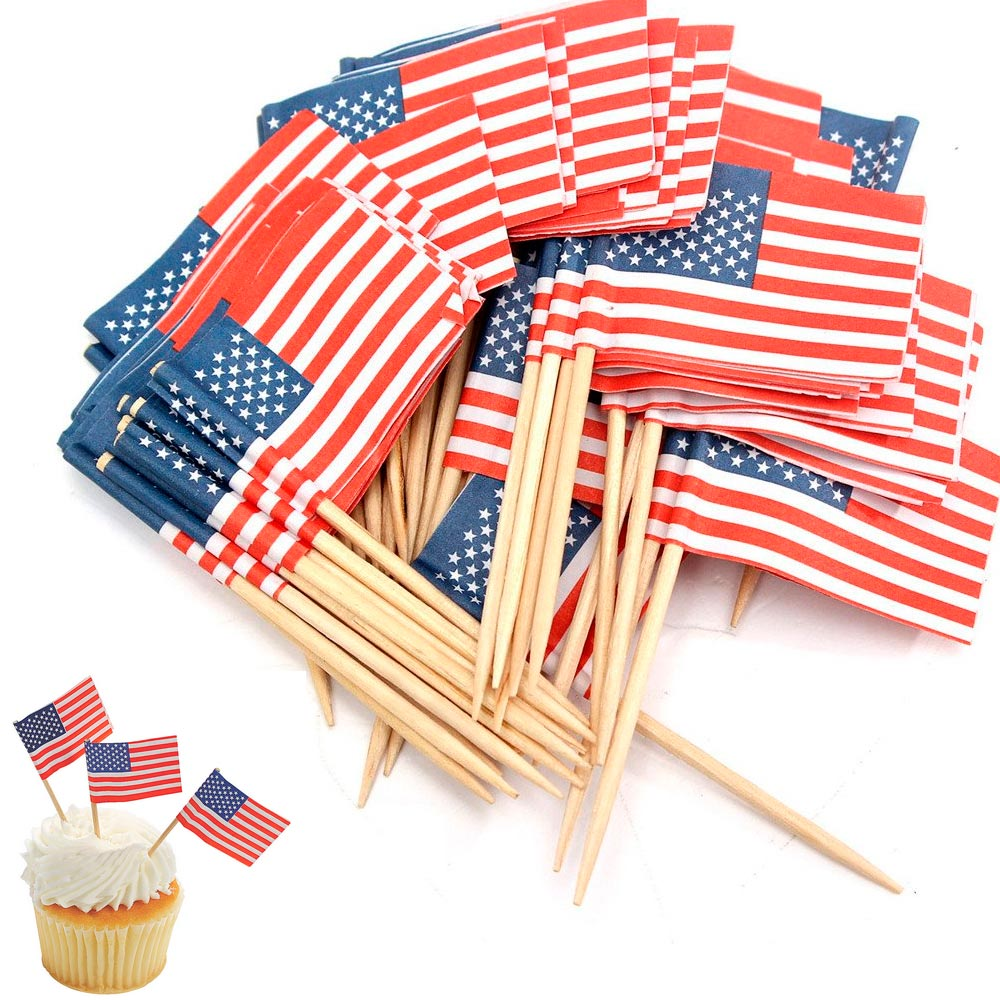 100 American Flag Toothpicks Party Cupcake Decoration Sandwich Mini Food Picks