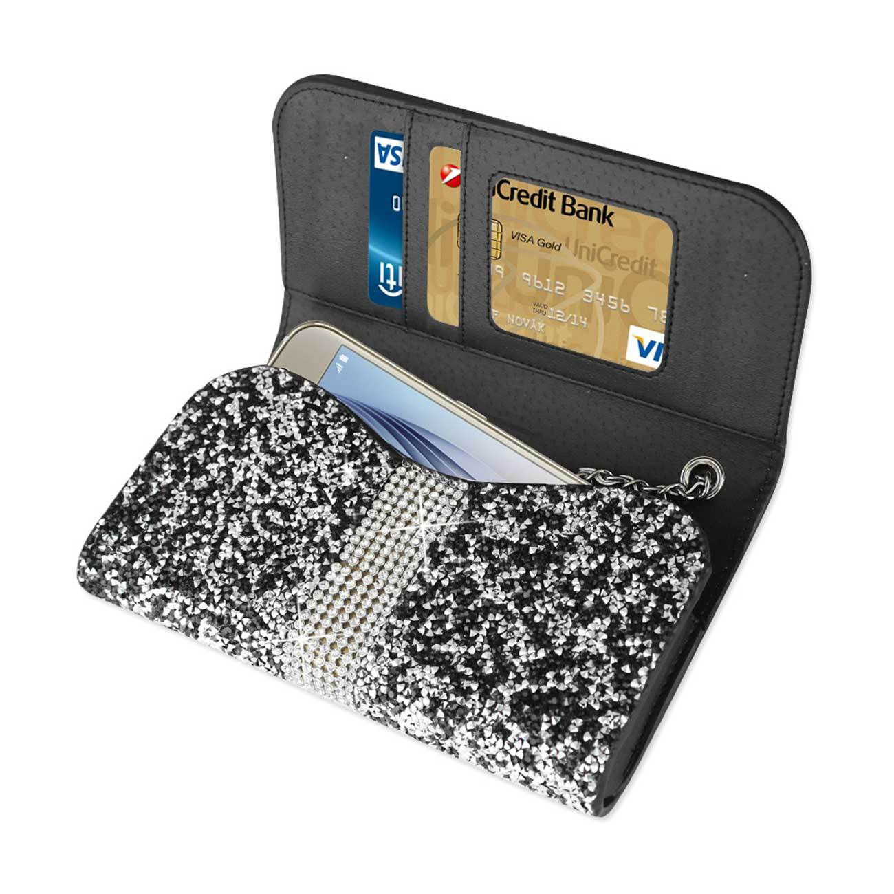 Black Bling Sparkling Credit Card Wallet Case fits Samsung Galaxy s4 Active