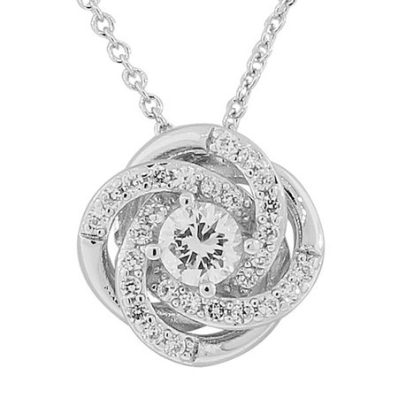 925 Sterling Silver Round Flower Rose White CZ Womens Pendant -